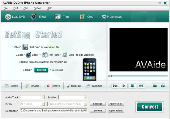Full Guide: How to Convert DVD movie to iPhone 4 for Windows Interface